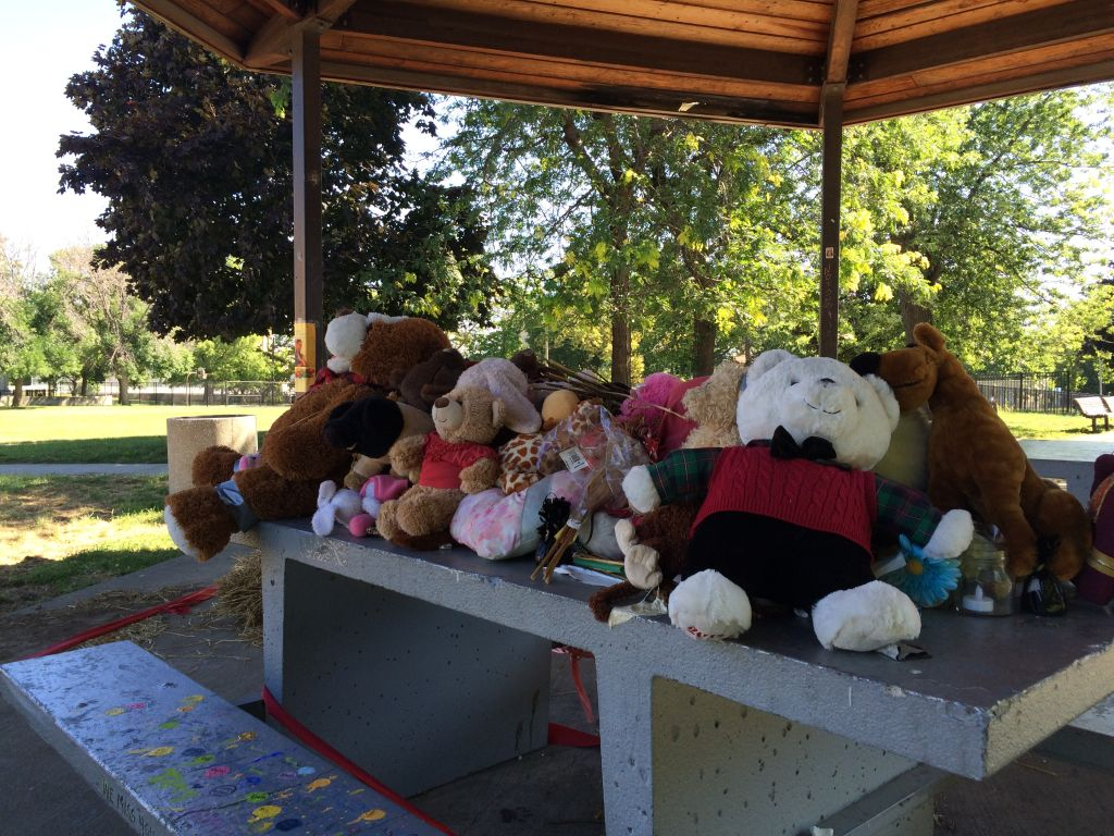 A memorial for Tamir Rice at the gazebo where he was shot in November 2014.