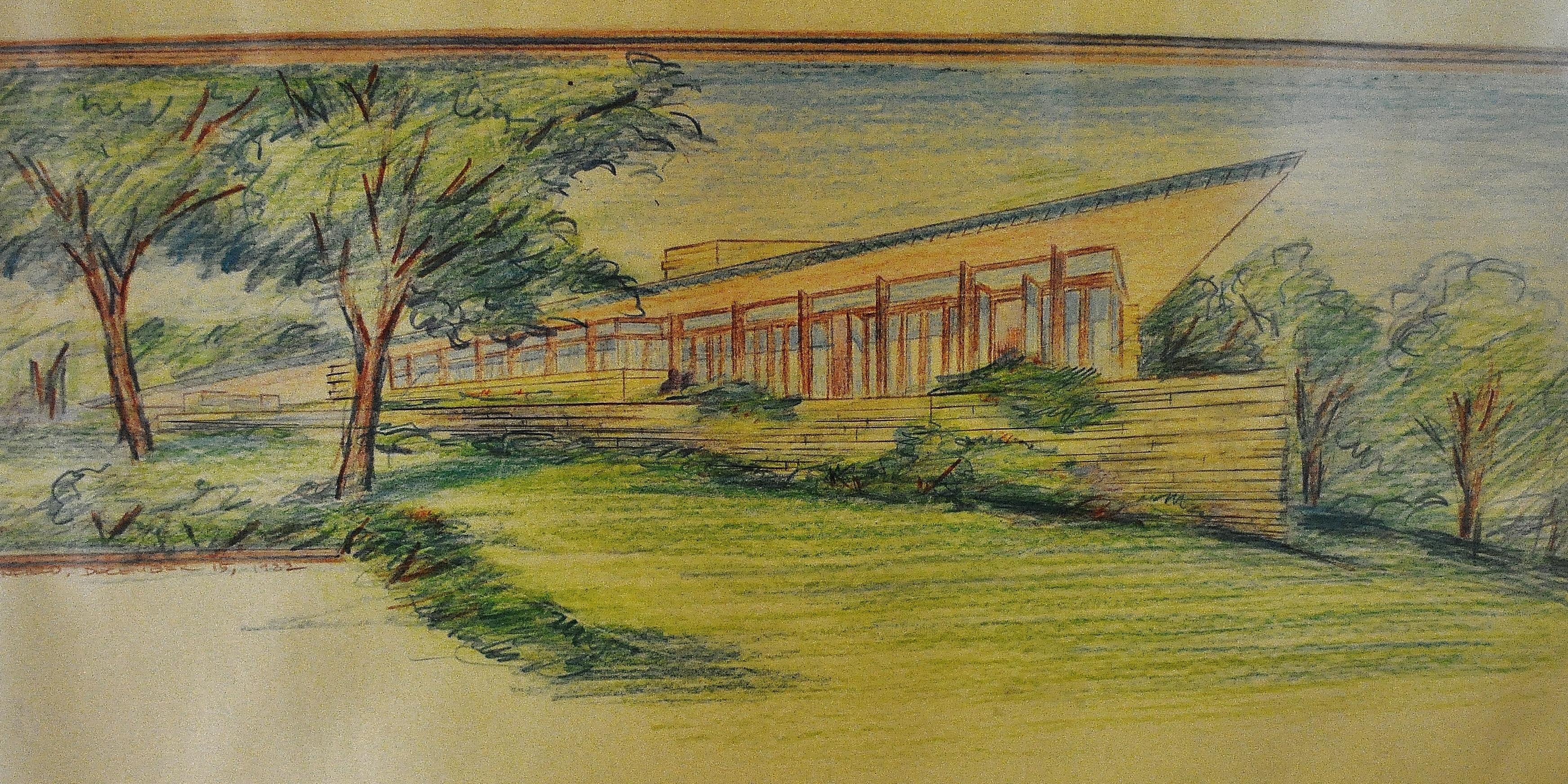 A drawing of the Riverrock House meant to be built on a bluff overlooking the Chagrin River