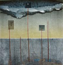 "Flooded Garden		2013 Intaglio, relief, monoprint, chine colle' on hand-made paper 32""x32.5"""
