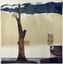 "High Water on Bird Island   2013 Intaglio, relief, monoprint, chine colle' on hand-made paper 32""x32.5"""