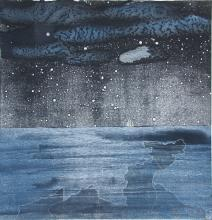 "Last Ship Off the Island		2013 Intaglio, relief, monoprint, chine colle' on hand-made paper 32""x32.5"""