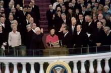 Richard M. Nixon takes the oath of office, 1969. Photo courtesy of the Nixon Library