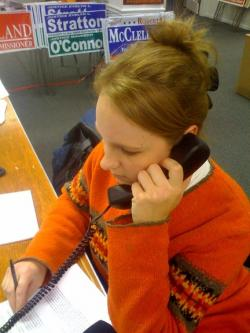 Rachel Manias works the phones.