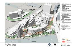 An artist's rendering of the Flats East Bank project.