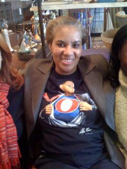Mittie Imani Jordan of Deuteronomy 8:3 shows off her Obama T-shirt.