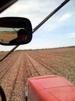 Mark Waddle planting soybean seed on 200 acres at the family farm in western Ohio.