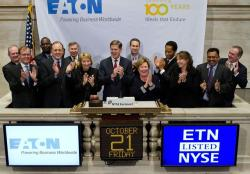 Sandy Cutler and the Eaton team get a birthday salute from the New York Stock Exchange