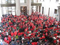 People pour inside the atrium to protest proposed bill.