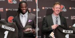 First-round picks Trent Richardson and Brandon Weeden, at a Berea press conference (photos by The Plain Dealer)