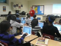 Students in this class at Beachwood Middle School are familiar with blending the internet into traditional learning.