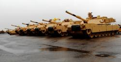 A row of Abrams await final inspection (pic by Brian Bull).