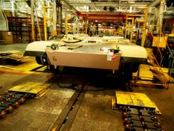 At the Joint Systems Manufacturing Center in Lima, Ohio, an Abrams awaits its treads (pic by Brian Bull)