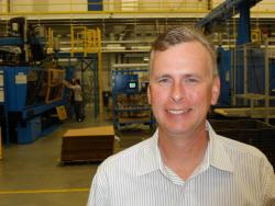 Rochling Automotive's Robert Roach, on production floor (pic by Brian Bull)