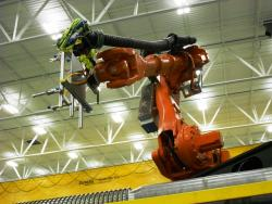 Robotic arm at Rochling Automotive plant in Akron (pic by Brian Bull)