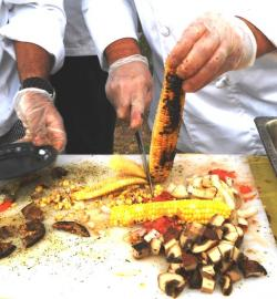 At today's event, chefs were on hand to present samples of grilled vegetables from urban gardens (pic by Brian Bull).
