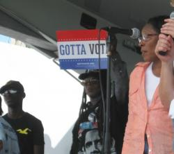 Congresswoman Marcia Fudge and supporters rally voter enthusiasm at the 11th Congressional District Labor Day Festival.