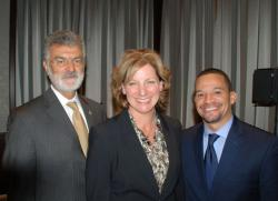 Cleveland Mayor Frank Jackson, GE Lighting CEO Maryrose Sylvester and East Cleveland Mayor Gary Norton
