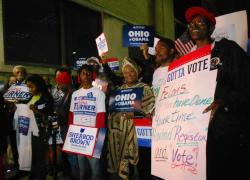 Democrats rally at the Cuyahoga County Board of Elections in downtown Cleveland Monday night (pic by Brian Bull).