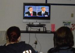 Attendees said Romney was effective in getting the last word in, and cheered his confrontative style (pic by Brian Bull)