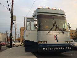 A Romney campaign bus -- named 'Reagan' -- sits at E. 30th and Chester.