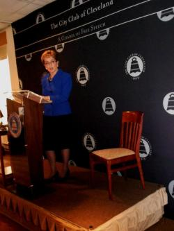 Kaptur did not address the chair during her speech. Wurzelbacher said he never RSVPed for the debate (pic by Brian Bull)
