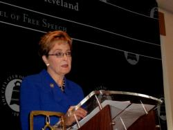 Incumbent Marcy Kaptur gave a speech, and lamented Wurzelbacher's absence (pic by Brian Bull)
