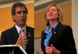 Jim Renacci and Betty Sutton, at Wednesday's debate (photos by Bill Rice)