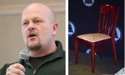 Sam Wurzelbacher was not at today's scheduled debate. His rival flanked an empty chair (pic by Plain Dealer, Brian Bull)