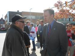 Cuyahoga County Executive Ed FitzGerald Talks with a Vote Yes supporter