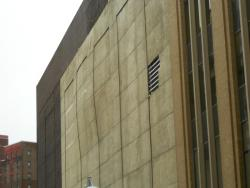 The odd, fluctuating bulge in the facade of the Sterling Building (pic by Brian Bull).
