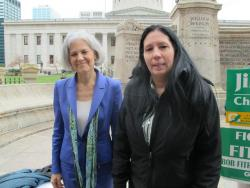 Dr. Jill Stein, left, and her running mate, Cheri Honkala. Photo by Bill Cohen / Ohio Public Radio