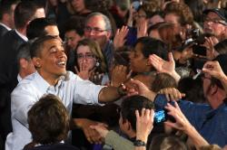 President Barack Obama greeting supporters in Mentor, Ohio. (Photo by Brian Bull)