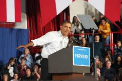 President Obama, giving a speech in Mentor (Photo by Brian Bull)