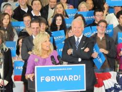 Jill Biden introduces her husband, Vice President Joe Biden, in Lakewood Sunday.