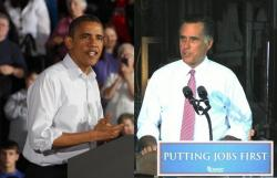 Barack Obama and Mitt Romney, stumping in Ohio (pics by WCPN/OPR reporters)