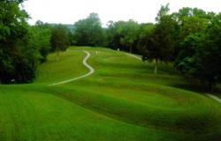 Serpent Mound, near Peebles, Ohio (photo from Ohio Cultural Facilities Commission).