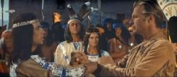 In the movies, Winnetou (French actor Pierre Brice) and Old Shatterhand (American Lex Barker) become `blood brothers'.