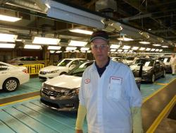 Marysville plant manager, Jeff Tomko, in the standard uniform for all Honda workers (pic by Brian Bull)