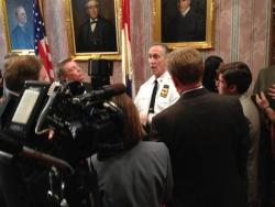Cleveland Police Chief Michael McGrath speaks with reporters at City Hall.