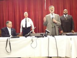 Cleveland safety director Martin Flask, police chief Michael McGrath, Mayor Frank Jackson and Blaine Griffin.