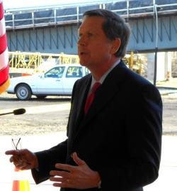 Ohio Governor John Kasich, at today's press conference (pic by Brian Bull)