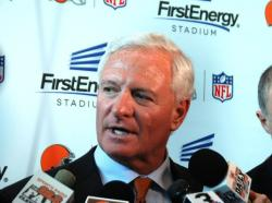 Browns owner Jimmy Haslam speaks with reporters after the announcement