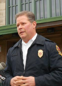 City of Cleveland Asst. Fire Chief, Brent Collins, at today's press conference (photo: Brian Bull)