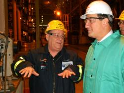 Asst. Secretary of Labor Seth Harris (right) at ArcelorMittal visiting with steelworkers (pic by Brian Bull)