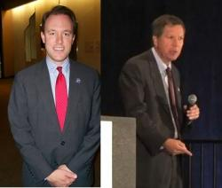 Cuyahoga County Executive Ed Fitzgerald (L) and Ohio Governor John Kasich (R).