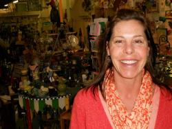 Jenny Arthur co-owns `The Works', a Main Street gift shop.  She says traffic and business have greatly improved (pic by Brian Bull).