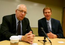 Kent State University President Lester Lefton, and Kent City Manager Dave Ruller (pic by Brian Bull)