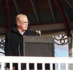Former Gov. Ted Strickland addresses Strongsville teachers and their allies during an afternoon rally.