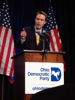 Cuyahoga County Executive Ed Fitzgerald, the last speaker at the event (pic by Karen Kasler, OPR)