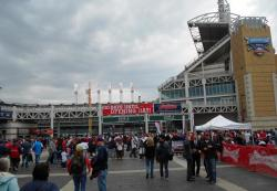 Indians fans arrive at Progressive, undeterred by roiling gray clouds and gusts (pic by Brian Bull)